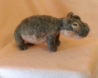 Needle-felted Hippopotamus (Posable)