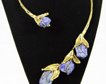 Asymetrical Collar Necklace in Antique Brass and Blue Lapis Lazuli