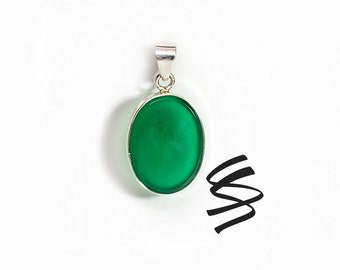 Green Onyx Sterling Silver Necklace Green Onyx Jewelry Emerald Green Unique Dainty Woman Healing Crystal Women's Gift Boho Gift For Her