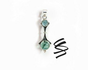 Apatite Silver Necklace Natural Apatite Sterling Silver Pendant Green Gemstone Jewelry Green Apatite Necklace Pendant 925 Silver Green Stone