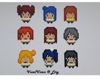 Love Live Sunshine School Idol Festival Project Aqours Pixel Perler Chibi Style Magnets