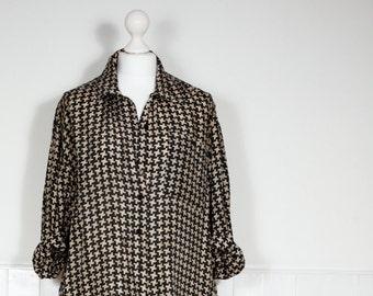 Vintage Houndstooth Silk Shirt
