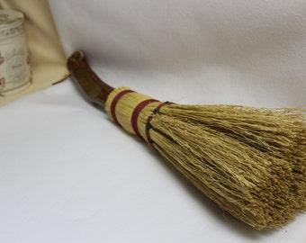 Unique Hearth Broom  Corn Husk Broom  Wooden Tree Limb Handle  Primitive  Fireplace Broom  Vintage Style Broom