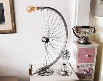 Bicycle wheel desk lamp, gift for guys, bike parts lamp, bicycle rim lamp, edison bulb