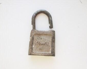 Metal padlock Vintage lock Antique lock Old Padlock Rustic lock Antique Padlock Brass Padlock Rusty lock Industrial Decor Farmhouse Decor