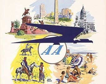 Vintage Argentine Airlines Flights To Buenos Aires Poster A3 Print