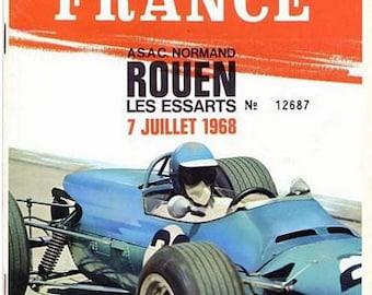 Vintage 1968 French Grand Prix Rouen Motor Racing Poster A3 Print