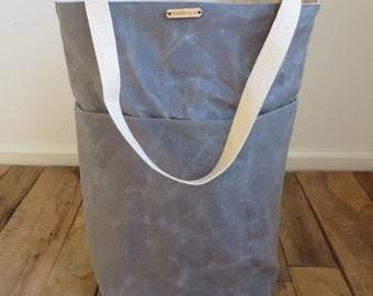 Waxed Canvas Tote, Waxed Canvas Bag, Market Tote, Water Resistant Bag, Gray Bag, Diaper Bag, Large Tote