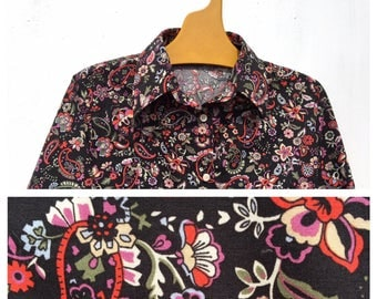Mistral Provencal Cowboy Cowgirl Paisley Floral Brown French Vintage Shirt