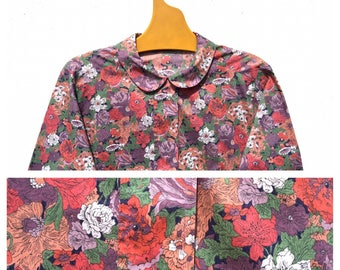 Gorgeous Cacharel Liberty London Peter Pan collar Col Claudine Floral French Vintage Blouse