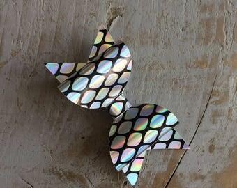 SALE! Handmade, rainbow mermaid leatherette hair bow, hair clip, holographic hair bow