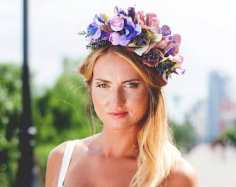 Purple Floral Headpiece / Bridal Flower Headband Purple Flower Crown Boho Wedding Crown Flower Halo Head Wreath