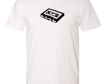 Men's White Cotton T-Shirt Retro Cassette Tape Musician Series