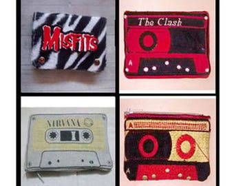 Purse casette the clash nirvana Misfits