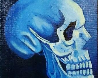 Blue Skull Original Painting