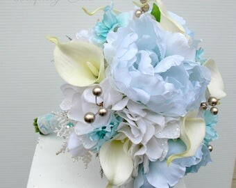 Wedding bouquet, Bridal bouquet, Ice blue Peony bouquet, Silver and white winter Wedding bouquet, Holiday bouquet, Silk wedding flowers
