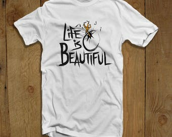 Life is Beautiful, Mens, Graphic Tee, Gifts for Him, Veganism, Gifts for Vegans, Vegan Gifts, Chicken Eggs, Hatching Chicken, Beautiful Life