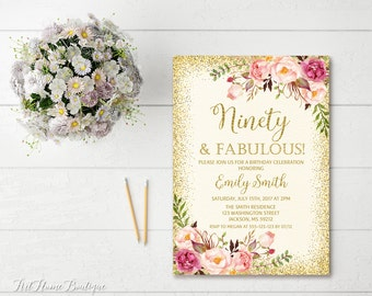 90th Birthday Invitation, Any Age Women Birthday Invitation, Floral Ivory and Gold Women Birthday Invitation, Boho Birthday Invite, #BW23-90