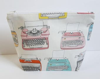 Typewriters, Project Bag, Knitting Bag, Crochet bag, Zipper Pouch, Makeup Bag, Cotton Bag, Toiletry Bag, Art Supply bag, Craft Bag,