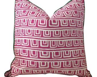 Pink White Pillow, Decorative Pillow, Geometric Pillow, Graphic Pillow, Throw Pillow,Magenta Pillow, P Kaufmann Fabric, On the Square Papaya