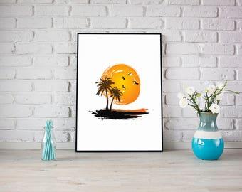 Tropical Summer Palm Vector Print