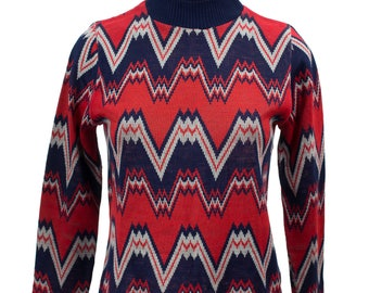 Vintage 1970's Red and Blue Zig Zag Pattern Jumper/Sweater Top