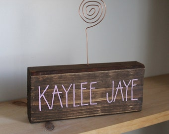Reclaimed Wood    Wire Photo Holder    Baby Boy Gift    Mocha Stain with Copper Wire and Handpainted Pink Lettering