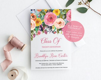 Floral Graduation Announcement Template, Editable Invitation PDF, Class Of Printable, Instant Download, MAM106_55