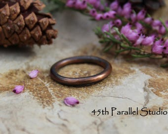 Copper Stacking Ring, Thick Stacking Ring, Patina Stack Ring, Stackable Ring, Copper Ring, Rustic Ring, Forged Ring