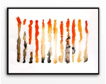 Original Modern Striped black and white orange Art abstract minimal painting original Abstract modern painting WatercolorByMuren 14 x 19