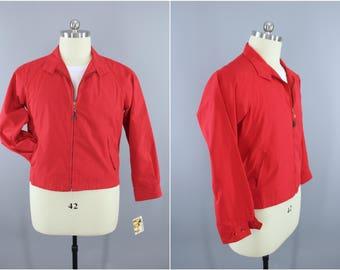 1960s Vintage Jacket / 60s London Fog Windbreaker / Preppy Casual Nautical Classic Style Menswear / Red / Size 42