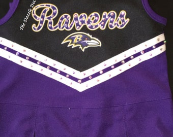 Kids Ravens Cheerleader Uniform, Ravens Cheerleader, Kids Cheerleader Uniform, Cheerleader Uniform, Bling Ravens gear, NFL bling