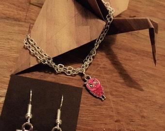 Set bracelet and loop earring owls