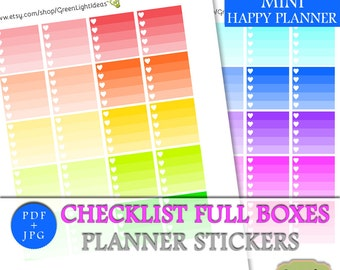 MINI Happy Planner Stickers Printable, MINI Happy Planner Checklist Full Boxes, Printable MINI Mambi Checklists, Digital Functional Stickers