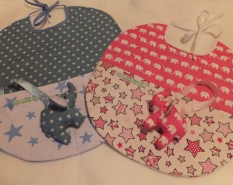 Gift boxed Handmade Baby bib - blue only available