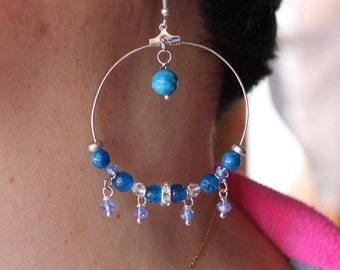 Hoop earrings with crystals and stones in shades of blue