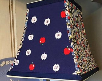 Hand Made Lampshade - Blue Red and White Apples plus Daisies