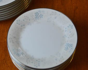 Noritake Concert, BREAD PLATE, blue gray flowers, gray leaves, silver trim, Japan, Tableware Dishes Japanese
