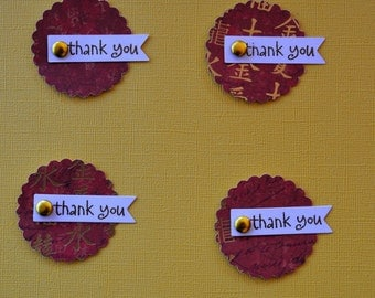 Scallop embellishments, Paper crafts, Thank you embellishments, Scrapbook, Cards, Handmade embellishments