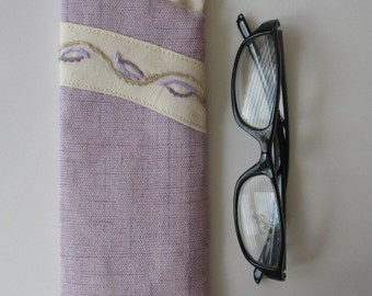 Eyeglass Case/Eye Glass Case/ Eyeglass Holder Purple and Cream