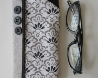 Eyeglass Case/ Eye Glass Case/ Eyeglass Holder/ Gray White and Black Print with Black Buttons.