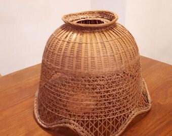 Vintage Wicker Basketwork Rattan Lampshade