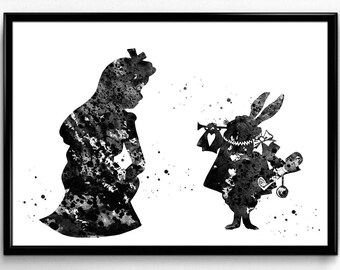 Alice in Wonderland Inspired, Alice with the White Rabbit,Tale, Poster, Room Decor, gift, Print, Wall Art (192)
