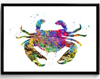 Sea Crab, Animal print, Nature, Room Decor, Colorful Watercolor, Poster, Room Decor, gift, Printable Wall Art (213)