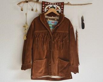 SALE // Vintage Brown Suede Fringed Jacket // Western // Hippie // Boho