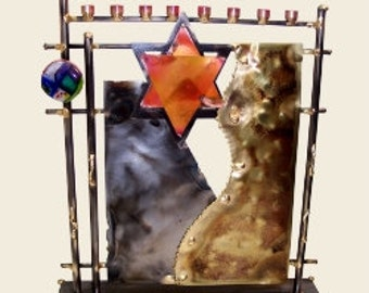 Abstract Mixed Metal Menorah