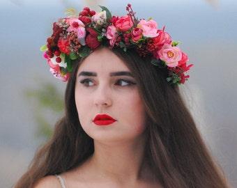 Burgundy pink red floral crown Bridal floral crown Wedding hair wreath Flower headband Wedding headpiece Flower halo Winter wedding flower