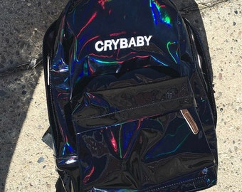 HOLOGRAPHIC iridescent BAG crybaby school bag