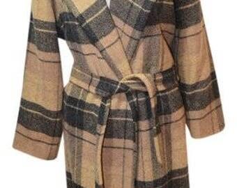 Rare Vintage J. Crew Plaid Wrap Coat