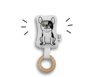 Rattle - Dog - Baby Rattle wooden teether ring Bosti Boston Terrier Frenchie French Bulldog